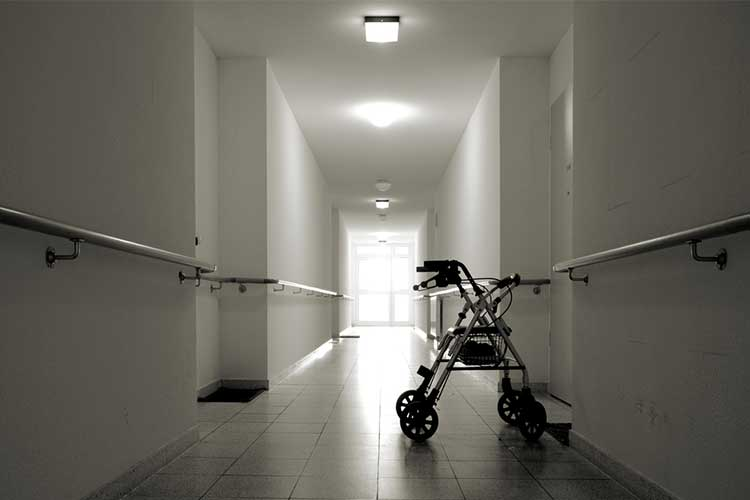 walking aid in hospital hallway