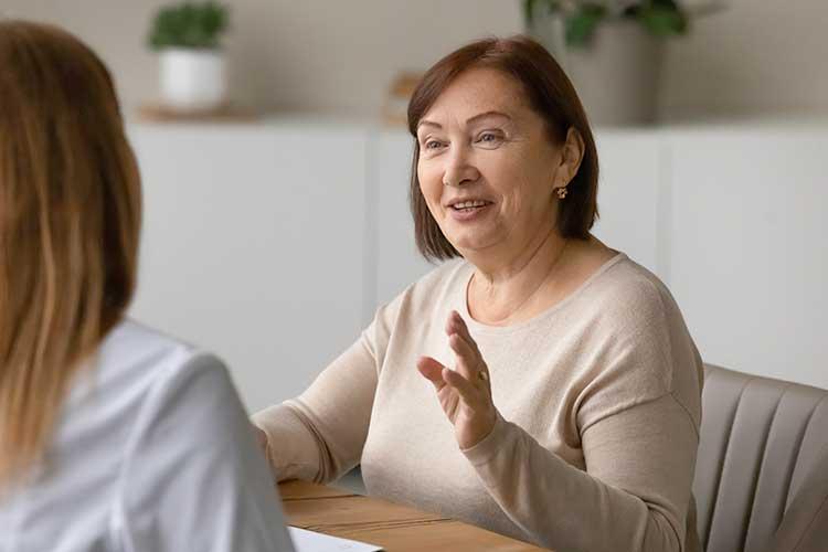 carer explaining information to participant