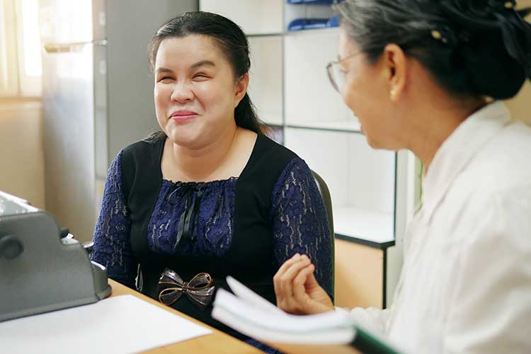 communicating with a client with a vision impairment