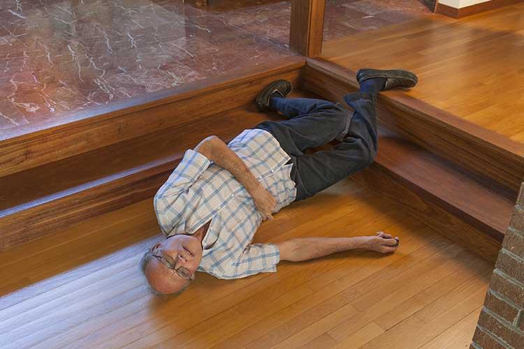 preventing falls man falling down steps